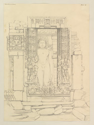 'Miscellaneous Series. Plate.19. Front View of Temple at Mamon.' Carved facade of a Jain temple at Mamon.